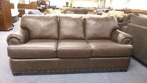 LORD SELKIRK FURITURE - SOFA & LOVESEAT IN BROWN BONDED LEATHER