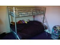 Silver Bunk Bed with Fuchsia Futon and Sprung Mattress