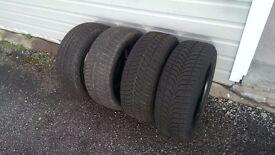 4 Winter Tyres 205/55 R16, 3xVredestien Snowtrac and 1xMatador Nordica