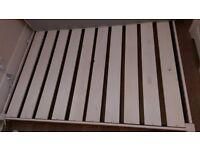 double bed, loft-style, whitewash finish wood