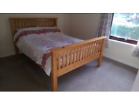 Pine double bed frame and orthopedic mattress