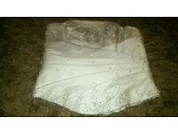 Ivory wedding dress, 3 piece slim long skirt, bask and detachable train