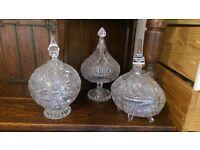 Stunning Cut Glass Victorian Sweet Jars Large / Bon Bon Jar (Set Of 3)