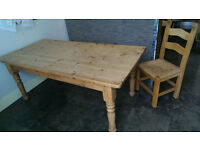 Antique pine farmhouse style dining/kitchen table with 4 hardwood chairs