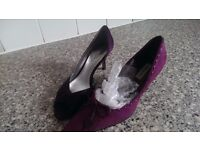 Two pairs of beautiful purple shoes size 6.5 worn once for a wedding ,£10 each