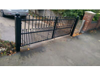 Bespoke Wrought Iron driveway double gates with posts