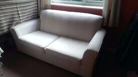 Sofa, white cotton upholstered 2-3 seat Habitat sofa for sale