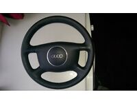 Audi a4 b6 steering wheel with complete steering column unit with indicators and more