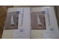 """Brand New, Unopened, 100% Cotton, Satin Cream Lined Curtains 66""""x54"""" - TWO PAIRS AVAILABLE"""