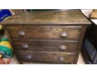 Vintage chest of Drawers with metal casters