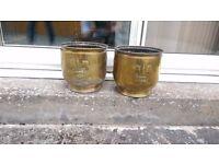 2x Antique Brass fleur de lis pattern Plant Pot