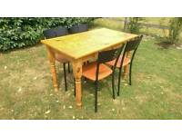 Can deliver: solid wooden pine dining table and 4 chairs. Wood. Dinning.