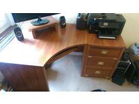Dark wood Corner Desk + chest of 3 drawers