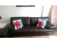 4 and 2 seater leather sofas