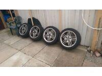 "BMW 5x120 style 89 alloy wheels 17"" - Good tyres"