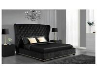 Ottoman Box (Black Champagne Silver) Brand New Wing Back Prince Crush Velvet Quality Bed Double Size