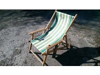 VINTAGE WOOD AND CANVAS DECKCHAIR WITH ARM RESTS