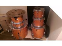 Mapex vxb in orange, zildjian zbt cymbals and big dog bass pedal