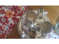 Oneida Du Maurier Silver Plate Coffee Tea Pots Sugar Bowl Creamer Set 6 Pc