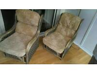 Pair of wooden conservatory style chairs