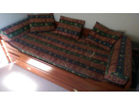 Dark wood single bed with inside storage and extra (emergency/guest) bed with mattress