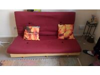 Low profile Futon with Mattress and Cushions