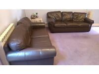 Ikea three & two seats leather brown sofas in perfect condition both £245 MUST GO ASAP but NO OFFERS