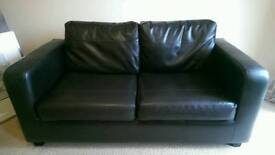Brown Faux Leather Framed Sofa Bed