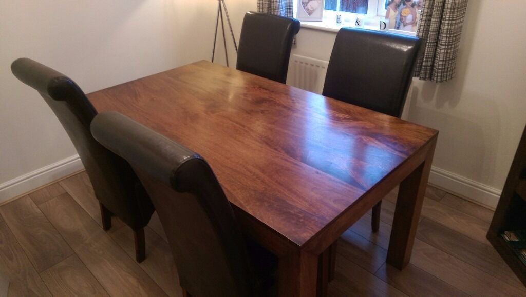 Dark mango wood next dakota dining table and 4 chairs in for Next dining table