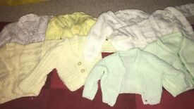 8x baby hand knitted cardigans 0-6
