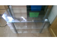 """TV stand clear glass up to 49"""" TV, CORNER"""