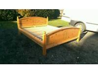 Can deliver: European Kingsize solid wooden pine double bed frame. Ikea. Base. Bedstead.