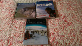 Three Books non-fiction. Mountain exploring Britains High Places, Planet Earth and The Living Coast