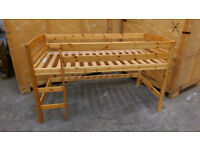 Single pine bunk bed frame with storage unit if required