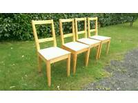 Can deliver: 4 X solid wooden pine dining chairs for sale. Wood. Dinning
