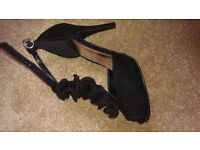 Stunning High Heeled Evening Shoes - Black, Size 5
