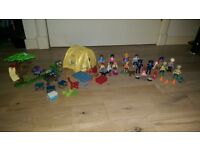 Playmobil campsite, knights, policemen, construction workers, beach family & others