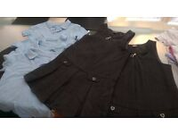 Girls School Uniform Pinafor and 4 Blue Tees Age 4-5