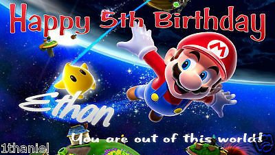 Super Mario Brothers Birthday Banner Personalized Custom Design Indoor - Mario Birthday Banner