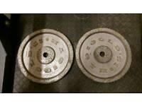 2 X 10kg standard Golds Gym weight plates