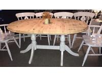 Beautiful extending shabby chic dining table and 6 fiddle back chairs