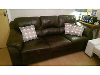 Ready to go 3 seater Brown DFS sofa- Couch settee seated seat leather chair deal