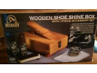 Buckley Wooden Shoe Shine Box - Brand New
