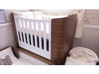 Crib, Cot, Bed - from birth to age 4 or 5 - walnut and white. £650 when new