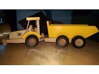 Wooden JCB tractor & trailer