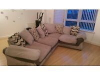 Corner Sofa in grey fabric and leather great condition