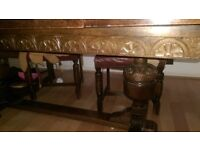 Antique Dining Table and Chairs plus Display cabinets