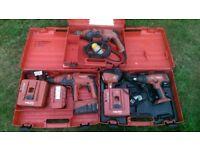 3 x Hilti Cordless Drill / Drivers & Hammer Drill