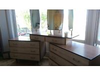 Smart, stylish, vintage bedroom wardrobe with matching dresser