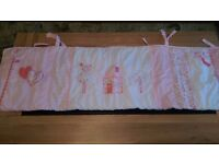 Brand new girls embroidered cot bumper